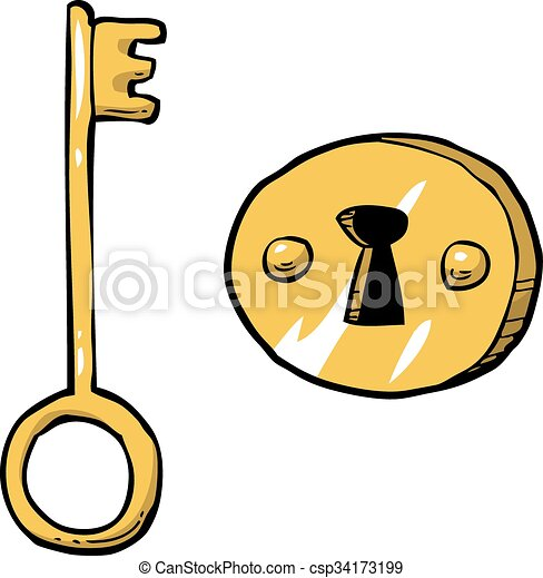 cartoon doodle key with keyhole vector illustration eps vectors rh canstockphoto com