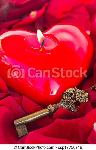 Key with the heart as a symbol of love - csp17756719