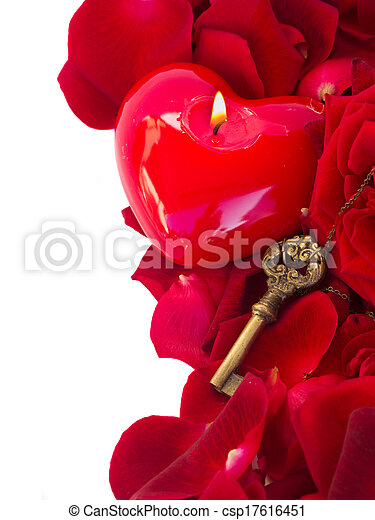 Key with the heart as a symbol of love - csp17616451