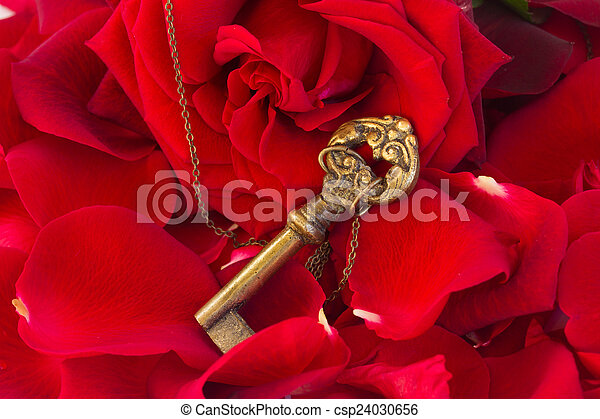 Key with the heart as a symbol of love - csp24030656