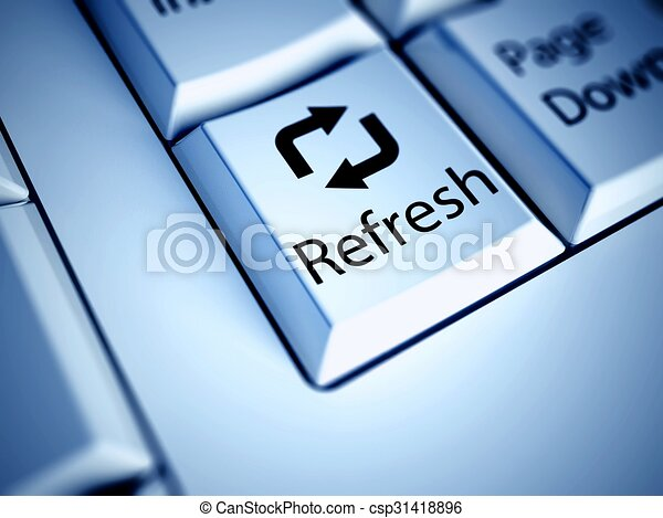 Keyboard and blue Refresh button, internet concept - csp31418896