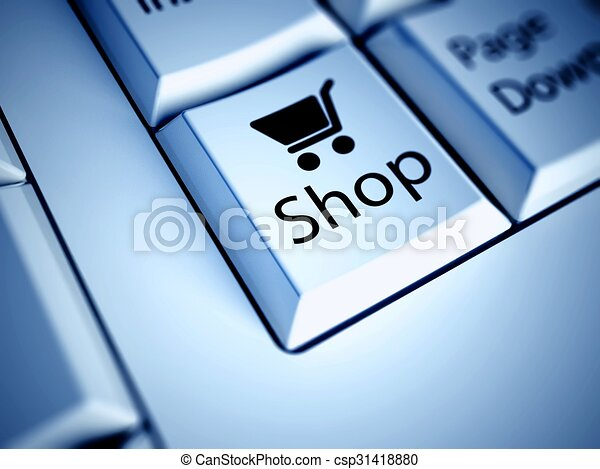 Keyboard and blue Shopping button, internet concept - csp31418880