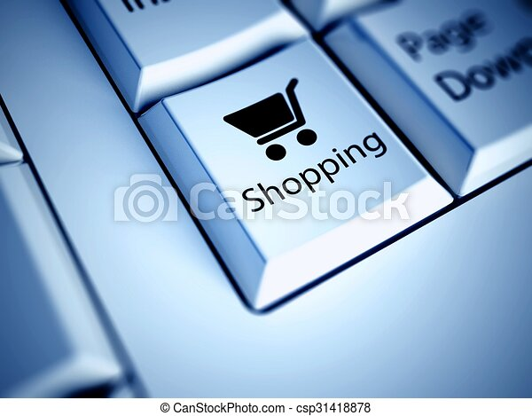 Keyboard and blue Shopping button, internet concept - csp31418878