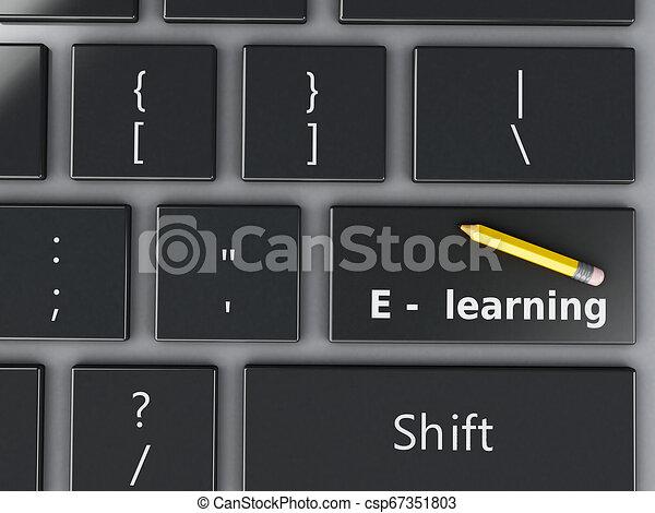 Teclado de computadora 3D. El concepto de educación. - csp67351803