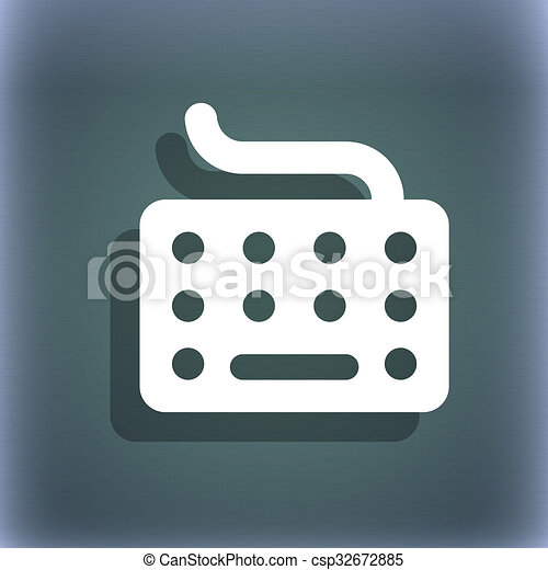 Keyboard Icon Symbol On The Blue Green Abstract Background Stock