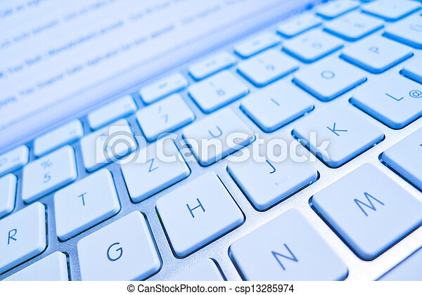 keyboard of a computer screen in front of - csp13285974