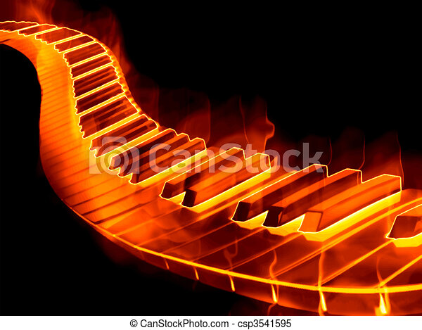 Keyboard On Fire Great Image Of A Keyboard Or Piano Keys On Fire