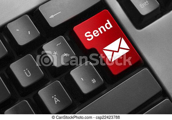 keyboard red button send mail - csp22423788