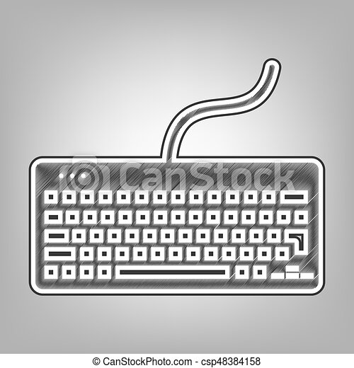 Keyboard simple sign  Vector  Pencil sketch imitation  Dark gray scribble  icon with dark gray outer contour at gray background