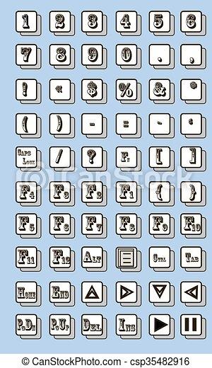Keyboard Symbol Vector Illustration On A Blue Background Vector Clip
