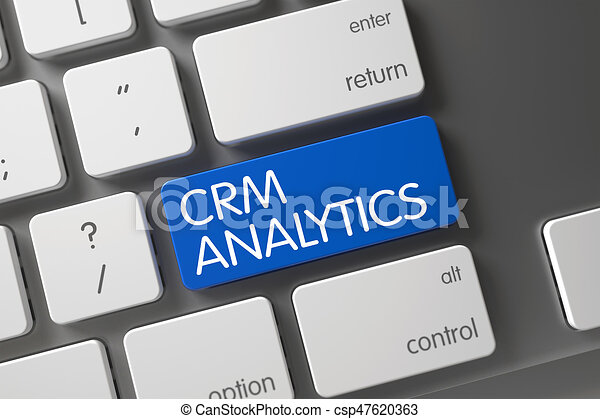 Keyboard with Blue Button - CRM Analytics. 3D. - csp47620363