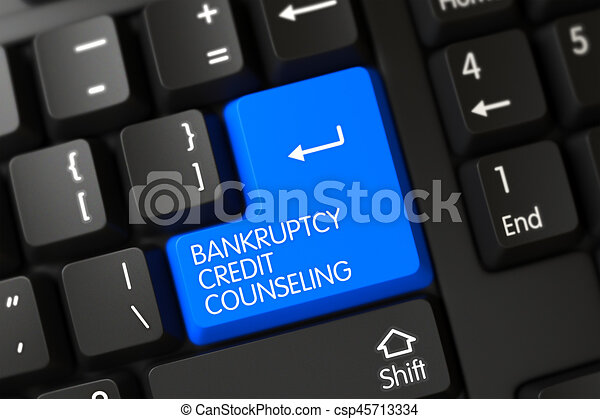 Keyboard with Blue Key - Bankruptcy Credit Counseling. 3d. - csp45713334