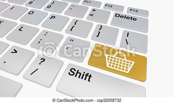 Keyboard with blue sell button - csp32058732