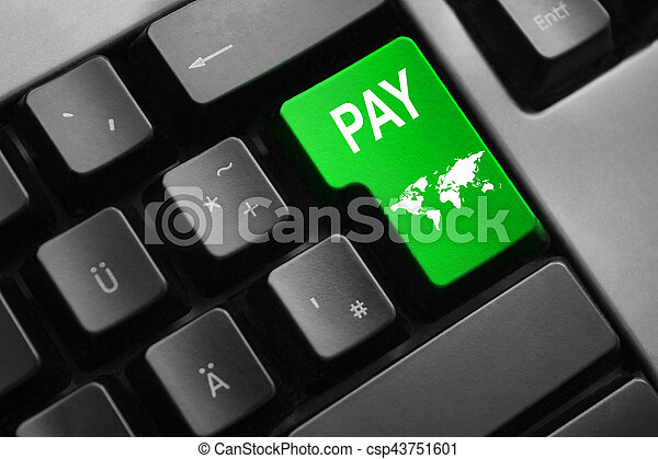 keyboard with green button pay world symbol - csp43751601