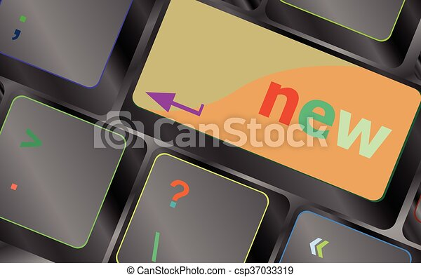 Keyboard with hot key with new word vector keyboard key. keyboard button. Vector illustration - csp37033319