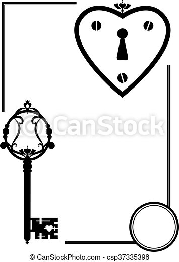 vector set with keyhole and old key in black and white color eps rh canstockphoto com
