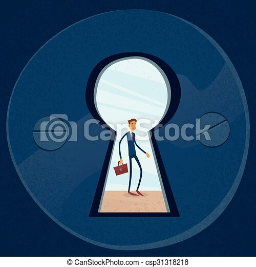 Keyhole Businessman Concept View Through Door Hole - csp31318218 & Keyhole businessman concept view through door hole vector ...