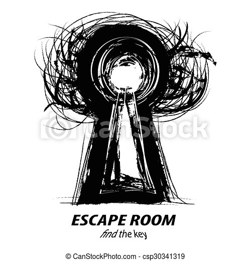 Keyhole thee concept illustration of escape room black for Escape room concept