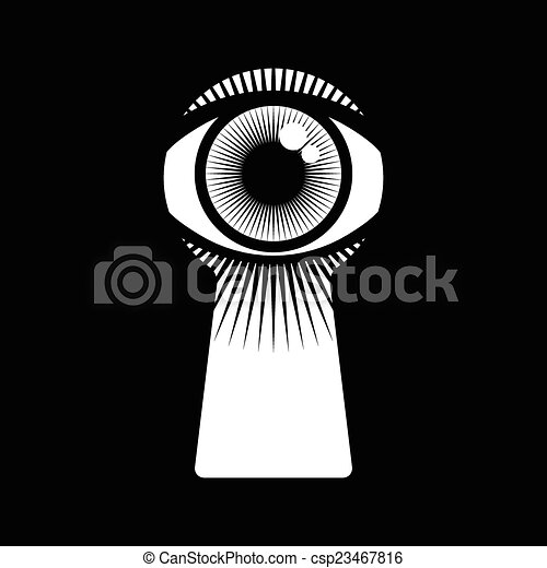 open human eye in keyhole rh canstockphoto com keyhole vector download door keyhole vector