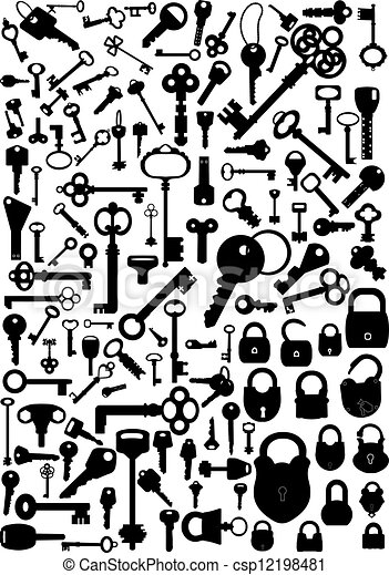 Keys And Locks Collection Of Antique Modern Vector