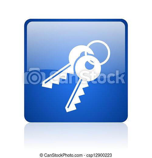 keys blue square glossy web icon on white background - csp12900223