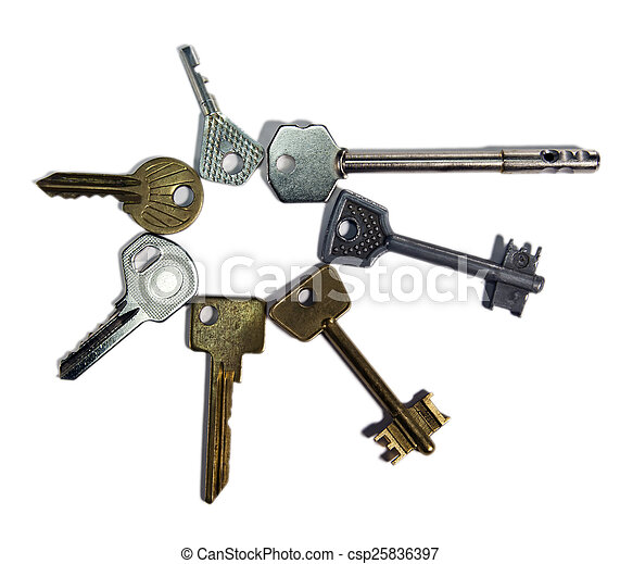keys of various form, on a white background - csp25836397