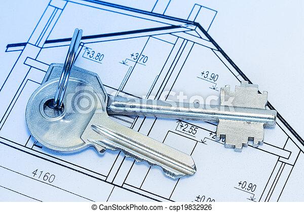 Keys on house blueprints - csp19832926