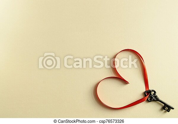 Keys with the hearts as a symbol of love. - csp76573326