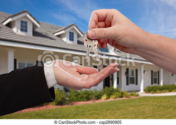 kezelő, kulcsok, épület, felett, új, elülső, otthon - csp2890905