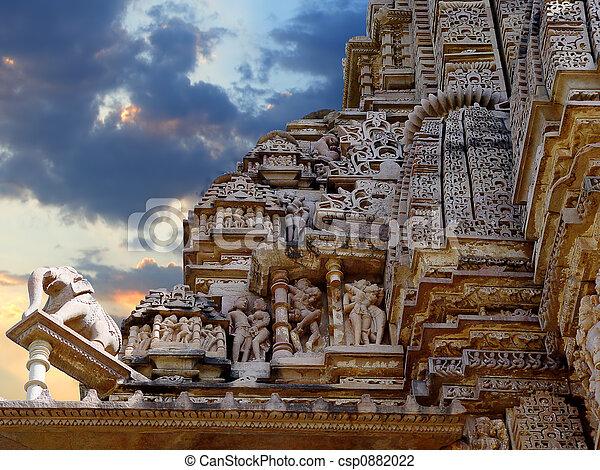 khajuraho, temple., indie - csp0882022