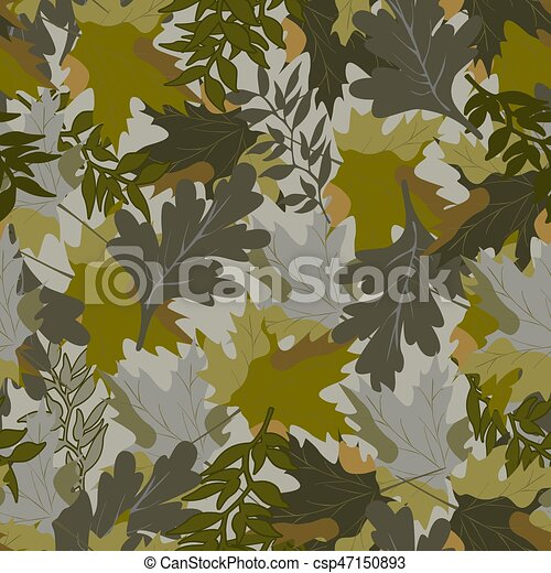 khaki background with autumn leaves - csp47150893