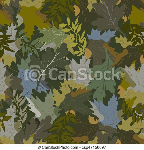 khaki background with autumn leaves - csp47150897