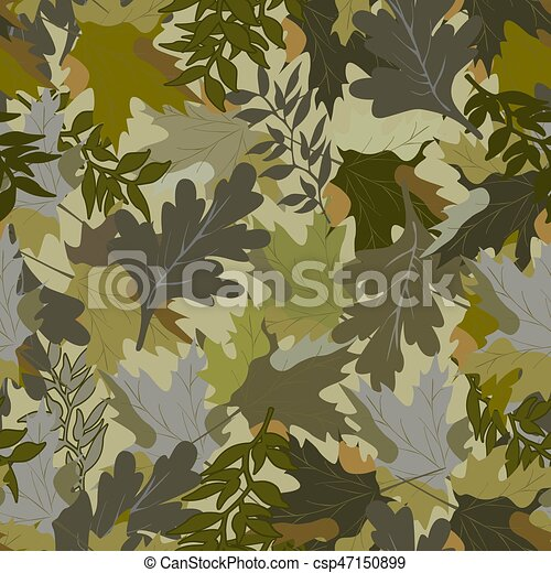 khaki background with autumn leaves - csp47150899