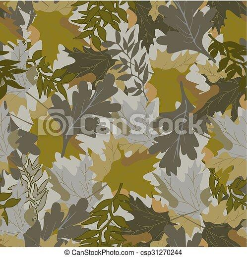 khaki background with autumn leaves - csp31270244