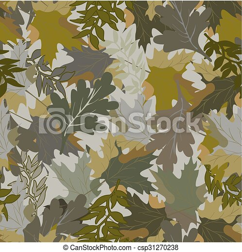 khaki background with autumn leaves - csp31270238