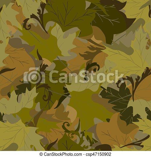 khaki background with autumn leaves - csp47150902