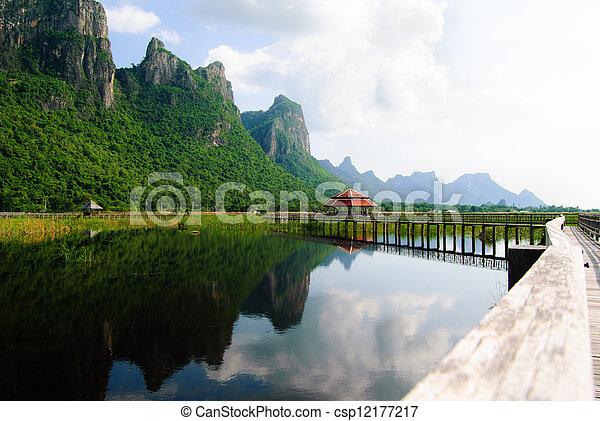 khiri, bridzs, légvédelmi rakéta, roi, kán, nemzeti, yod, tó, liget, prachuap, thaiföld - csp12177217
