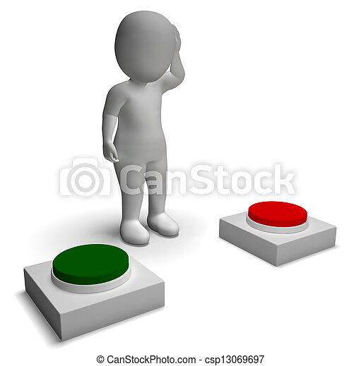 kiállítás, rámenős, betű, határozatlanság, válogatott, gombok, 3 - csp13069697