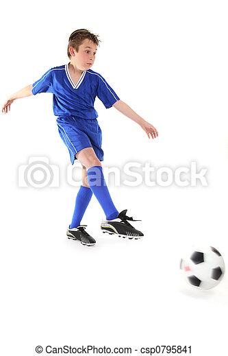 Kicking a soccer ball - csp0795841