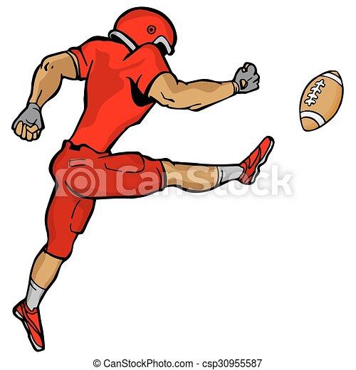 Kicking Football Player - csp30955587
