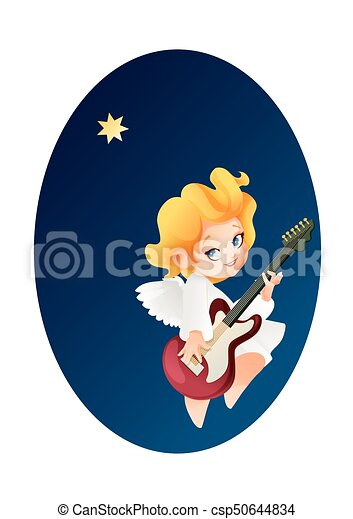kid angel musician guitarist flying on a night sky making vectors rh canstockphoto com cloudy night sky clipart night sky clipart free