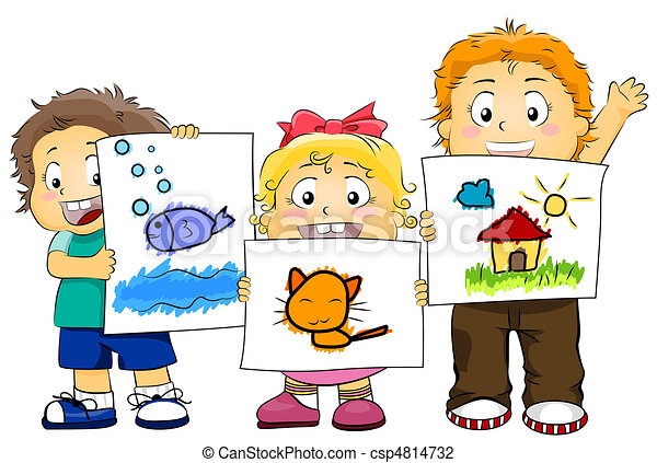 kid artworks illustration featuring kids displaying their clip rh canstockphoto com artwork clipart free border artwork clipart