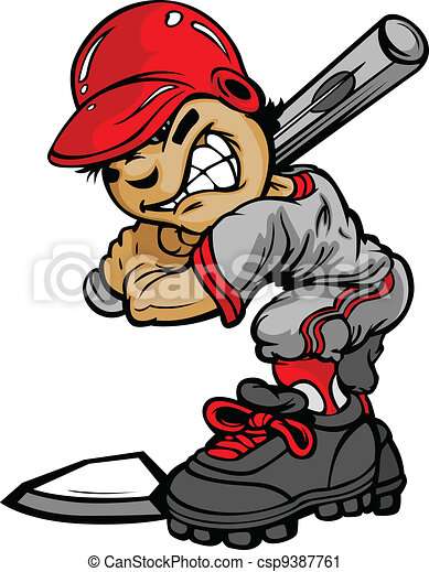 Kid baseball batter holding bat vector image. Fast pitch ...