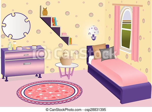Kid bedroom. illustration of a cartoon children bedroom with boy or ...