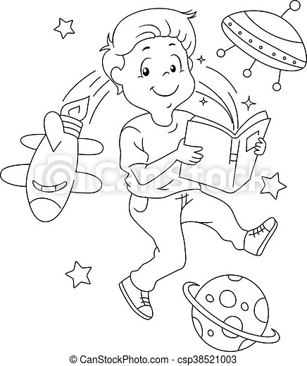 Kid Book Space Coloring Page - csp38521003