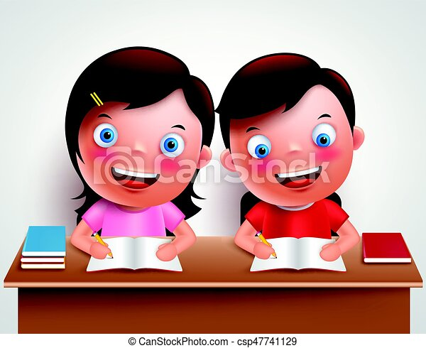 Kid Boy And Girl Vector Characters Studying Together Doing Homework