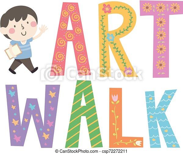 Kid Boy Art Walk Lettering Illustration - csp72272211