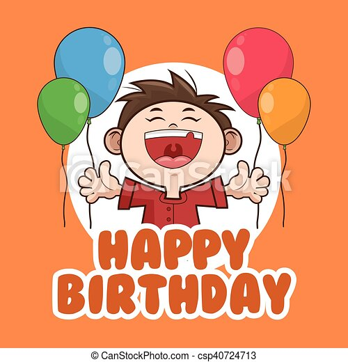 Kid Boy Balloons Happy Birthday Design