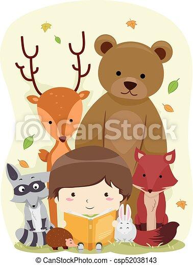 Kid Boy Book Animals Woodland - csp52038143