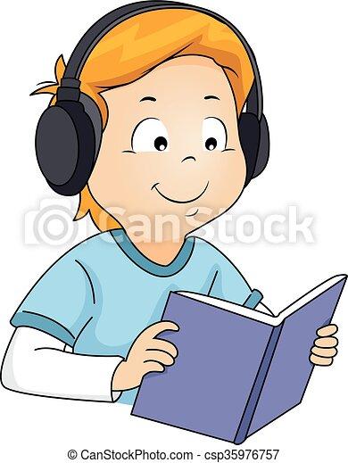 Kid Boy Book Audiobook - csp35976757